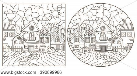 Set Of Contour Illustrations Of Stained Glass Windows With Rural Landscapes, Dark Outlines On A Whit