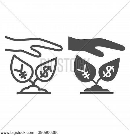 Yen And Dollar Growth Control Line And Solid Icon, Economic Sanctions Concept, Protective Hand With