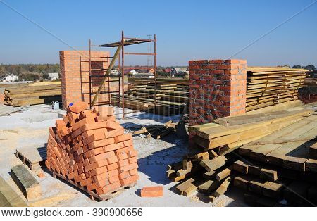 Getting Ready To Build An Attic Or A Loft And A Roof By Preparing Construction Materials Such As Bri