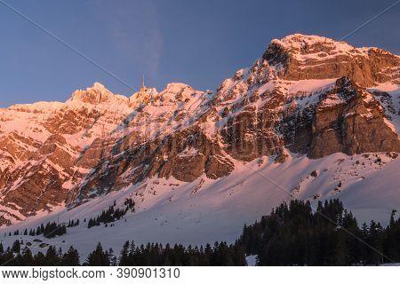 Alpstein Massif With Mountain Saentis In Evening Light, Winter Landscape, Canton Appenzell-ausserrho