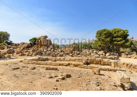 Leftovers Of The Greek Temple In The Valley Of The Temples In Agrigento, Sicily, Italy