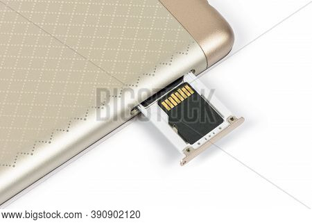 Memory Card On A Smartphone Tray Isolated On White Background With Clipping Path