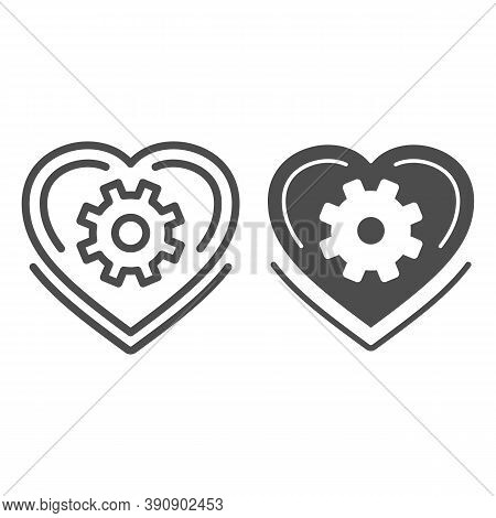 Mechanical Heart Line And Solid Icon, Robotization Concept, Love Mechanism Sign On White Background,