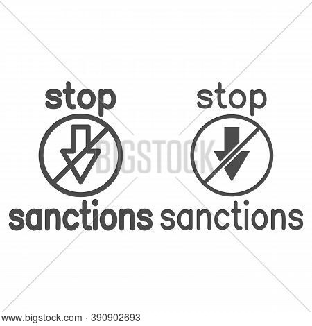 Stop Sanctions Sign Line And Solid Icon, Economic Sanctions Concept, Warning Sign With Crossed Arrow