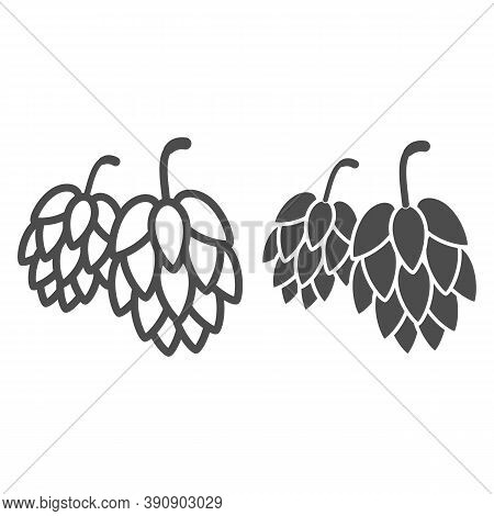 Hops Line And Solid Icon, Oktoberfest Concept, Hop Beer Sign On White Background, Hop Cones Icon In