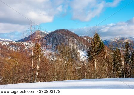 Mountain Landscape In Wintertime. Forest On Snow Covered Hills. Clouds On The Vivid Blue Sky Above T