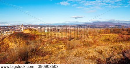 Rural Valley In The Morning. Beautiful Autumn Scenery In Mountains. Town In The Distant Valley. Clou