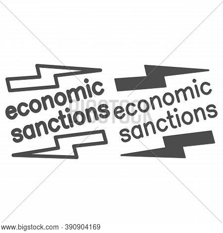 Economic Sanctions Text With Lightning Line And Solid Icon, Economic Sanctions Concept, Economic San