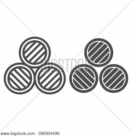 Barrels Of Beer Line And Solid Icon, Oktoberfest Concept, Three Wooden Keg Sign On White Background,