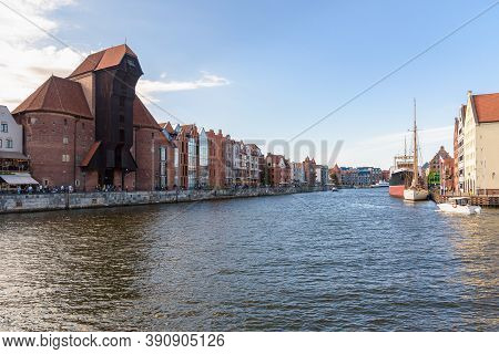 View Of New Motlawa River In Gdansk Downtown With Historic Port Crane