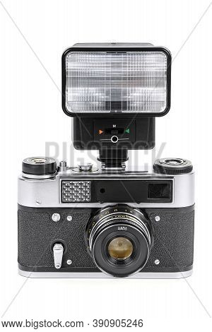 Vintage Analog Camera With Manual Flash Light Isolated On White Background With Clipping Path