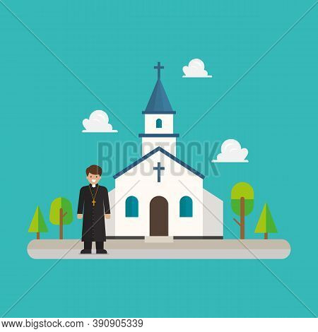 Priest Standing In Front Of Church In Flat Style Design. Vector Illustration