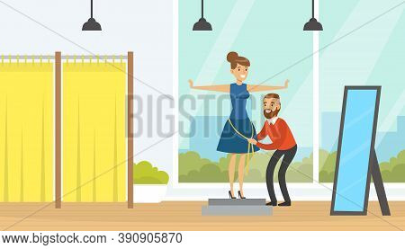 Young Woman Sewing Clothes At Tailor, Man Dressmaker Measuring Woman With Tape For Making Dress Cart