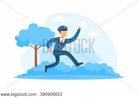 Running Postman Delivering Letter, Mailman In Blue Uniform Delivering Mails To Customers, Delivery S