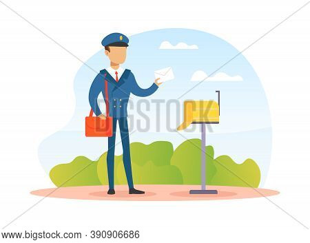 Postman Putting Letter In Mailbox, Mailman In Blue Uniform Delivering Mail To Customer, Delivery Ser