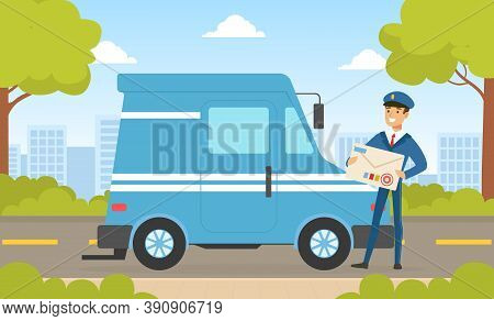 Mailman In Blue Uniform Delivering Mails To Customers By Van Car, Delivery Service Concept Vector Il