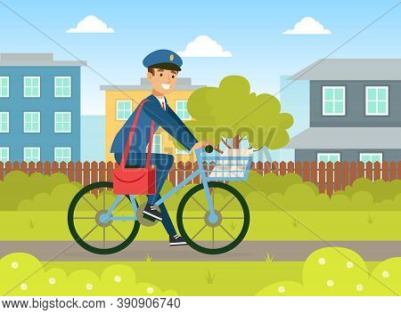 Postman In Blue Uniform Delivering Mails To Customers On Bike, Delivery Service Concept Vector Illus