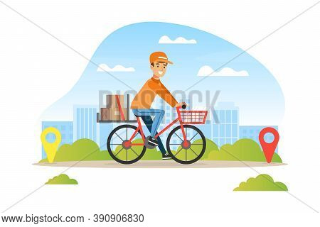 Male Postman Or Courier Delivering Parcel Boxes To Customer By Bike, Delivery Service Concept Vector