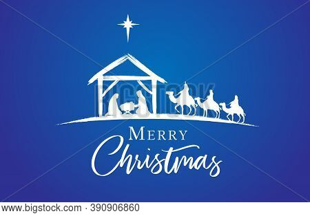 Birth Of Christ, Baby Jesus Reaching The Magi, Three Wise Kings Bear Gifts And Star Of Bethlehem, Na