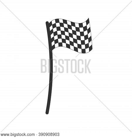 Chequered Flag Cartoon Style Icon. Checkered Black And White Sign. Check Pattern Poleflag Illustrati