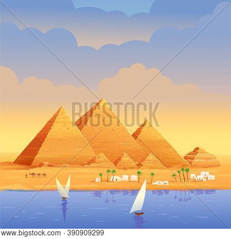 The Pyramids Of Egypt. Egyptian Pyramids In The Evening On The River. The Cheops Pyramid In Cairo, I