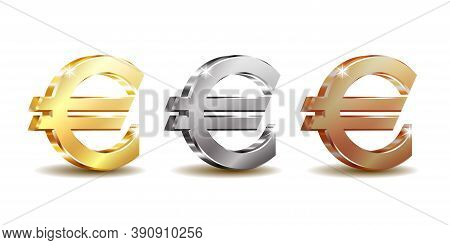 Set Of Sign Euro Currency. Vector Illustration Isolated On White
