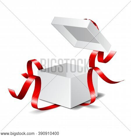 Open Gift Box With Red Bow Isolated On White.