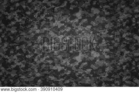 Camouflage  Pattern. Trendy Style Camo,  Print. Vector Illustration. Grey Black Texture, Military Ar