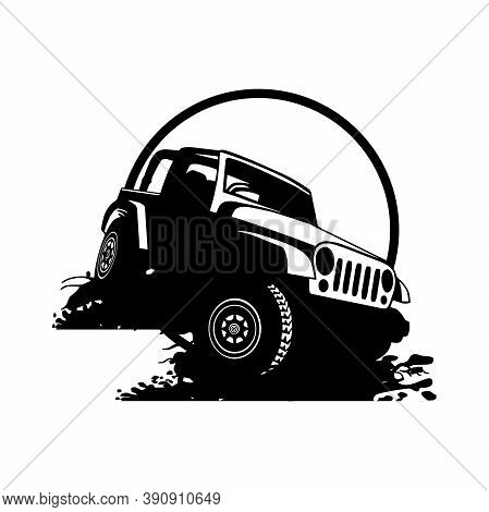 Off Road Car - Truck 4x4 Suv - Off-road Car And Elements For Tshirt And Emblem