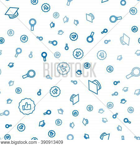 Set Line Hand Thumb Up, Graduation Cap And Magnifying Glass On Seamless Pattern. Vector
