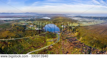 Aerial View Of Bonny Glen In County Donegal With Fog - Ireland.