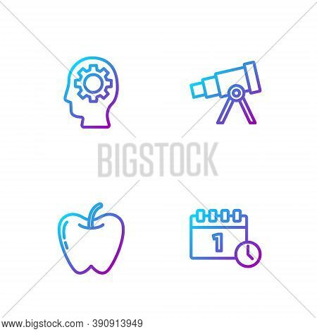 Set Line Calendar First September Date, Apple, Head With Gear Inside And Telescope. Gradient Color I
