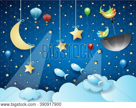 Surreal Cloudscape With Spotlights, Flying Umbrella And Fishes. Vector Illustration Eps10