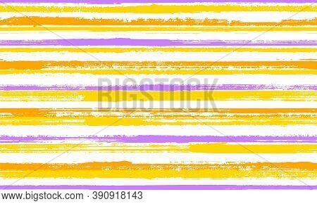 Pain Brush Stroke Parallel Lines Vector Seamless Pattern. Handmade Tartan Plaid Print Design. Old St