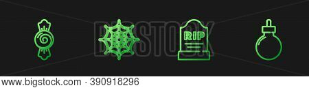 Set Line Tombstone With Rip Written, Candy, Spider Web And Bomb Ready Explode. Gradient Color Icons.