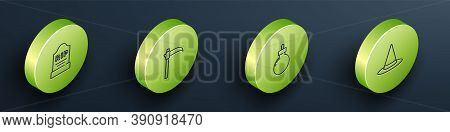 Set Isometric Tombstone With Rip Written, Scythe, Bomb Ready Explode And Witch Hat Icon. Vector