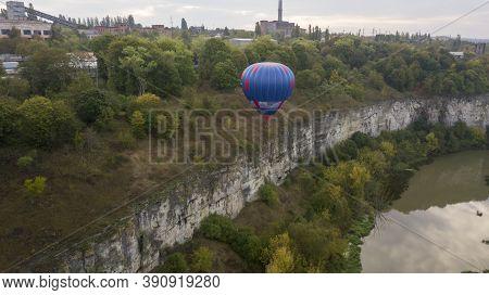 Ukraine October 3, 2020, Kamyanets Podolsk Balloon Festival, Morning Launch. Dangerous Situation, Th