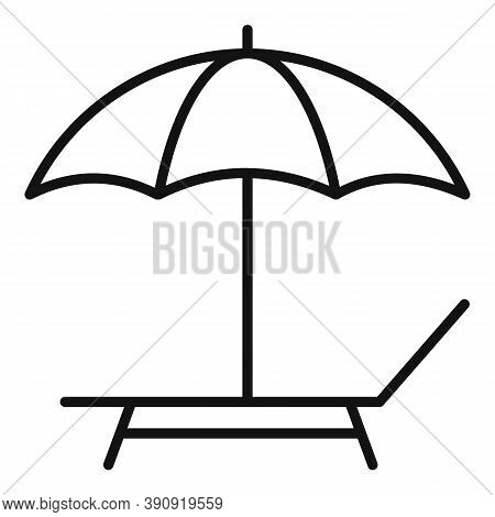 Umbrella Chaise Icon. Outline Umbrella Chaise Vector Icon For Web Design Isolated On White Backgroun