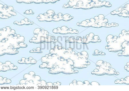 Seamless Pattern With Fluffy Clouds Or Cumulus. Hand Drawn Detailed Vintage Cloudscape. Repeatable B