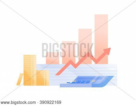 Concept Of Money Profit, Investment Growth. Histogram Shows Growing Funds And Company Success. Busin