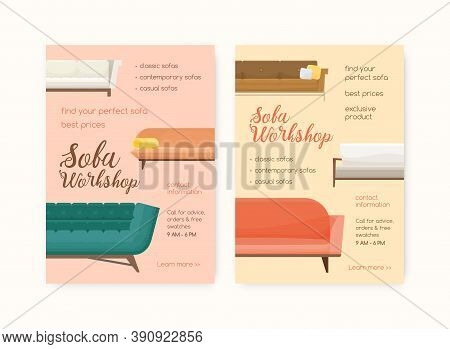 Colorful Vertical Poster For Sofa Workshop. Advertising For Couch Store With Cozy And Luxury Divans