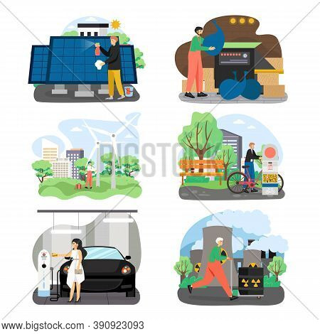 Eco Green Energy Set, Flat Vector Illustration. Wind And Solar Energy, Ecological Transport, Eco Fri