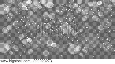 Falling Snow Layer For Blending Mode, Transparent Background. Overlay Snowfall. Flat Cartoon Design.