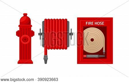 Active Fire Protection Devices With Fire Hose And Fire Hydrant Vector Set