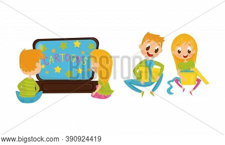 Little Boy And Girl Watching Cartoons And Unwrapping Gift Boxes Vector Illustration Set