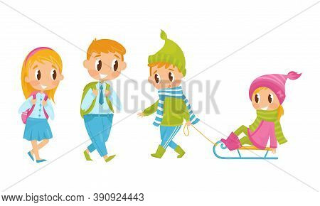 Little Boy And Girl With Backpacks Going To School And Sledging Vector Illustration Set
