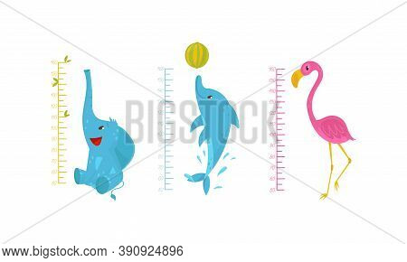 Height Chart For Kids With Funny Animals Vector Set