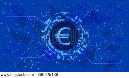 Euro Eur Coin Symbol In Circle With Digital Theme On Blue Background. European Union Currency Icon F