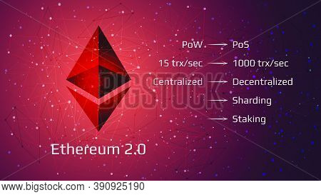 Ethereum 2.0 Restart - Cryptocurrency Coin Symbol On Abstract Polygonal Red Background. New Directio