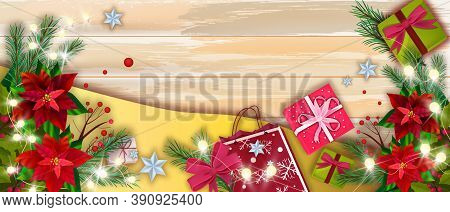 Christmas Winter Vector Sale Banner With Holiday Shopping Bag, Presents, Gift Boxes,table Flat Lay.x